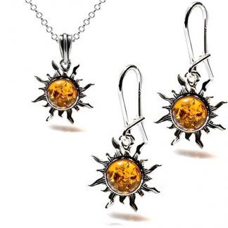 Conjunto Soles pendienes y colgante de plata de ley y ambar