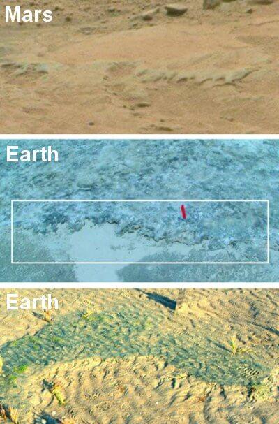 Comparativa de imágenes de Marte y de la Tierra.