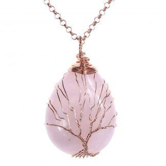 Cadena y Colgante arbol de la vida con cuarzo rosa