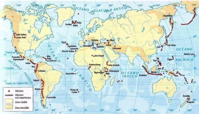 mapa volcanes activos 2018