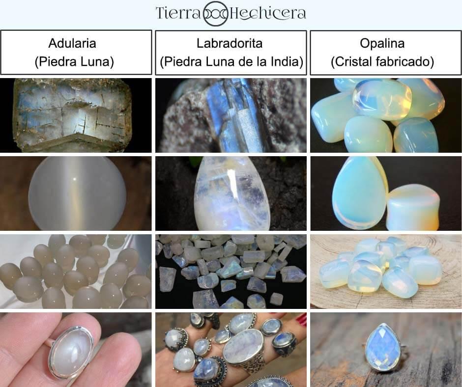 Diferencias entre piedraluna, adularia, opalita y labradorita