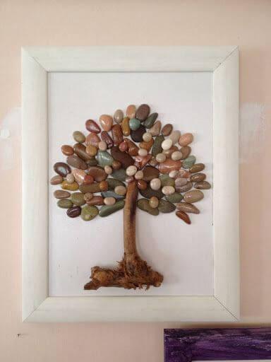 arbol cuadro de piedras