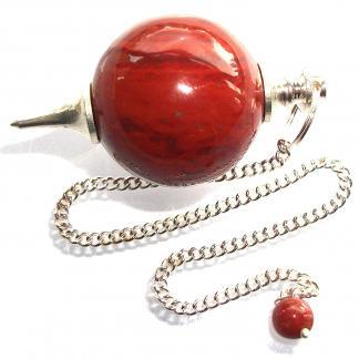 Pendulo esferico de Jaspe Rojo natural