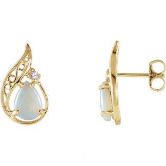 Pendientes de oro, diamante y opalo blanco autentico