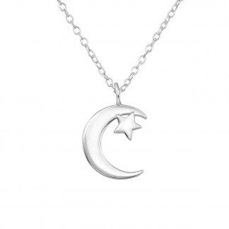 Colgante de luna y estrellita en plata