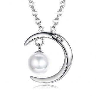 Colgante medialuna en plata con perlita