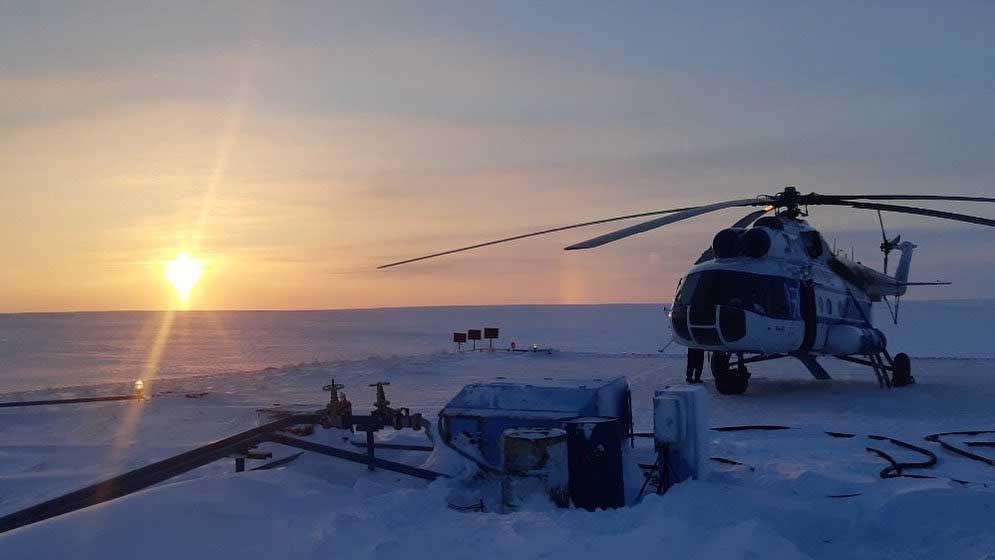 Helicoptero en  Yamal, Rusia