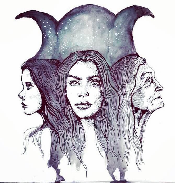 triple diosa colgante